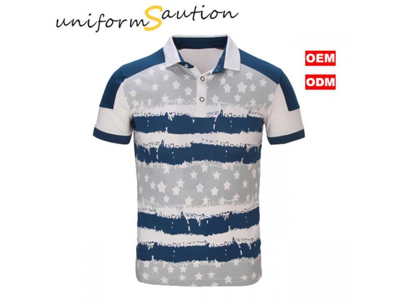 Custom allover printed cotton fashion polo shirt