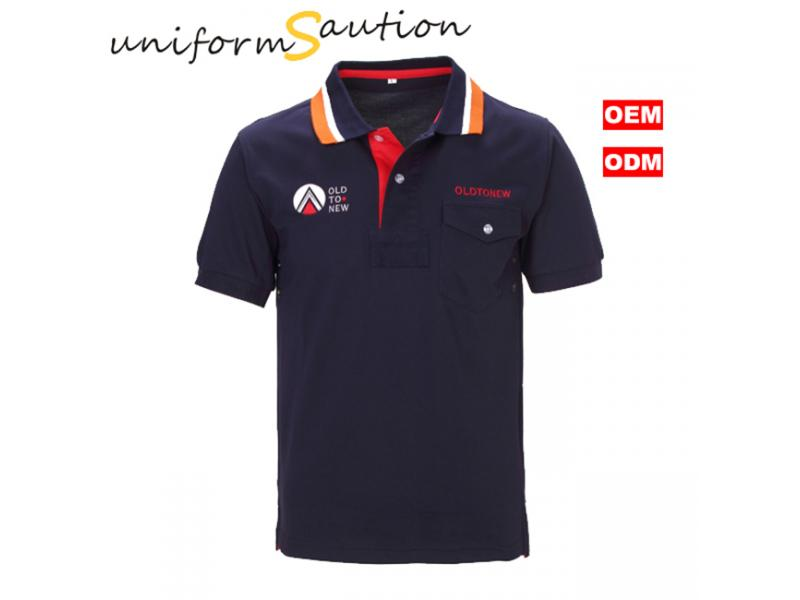 Stylish pocked cotton navy blue polo shirt with custom logo