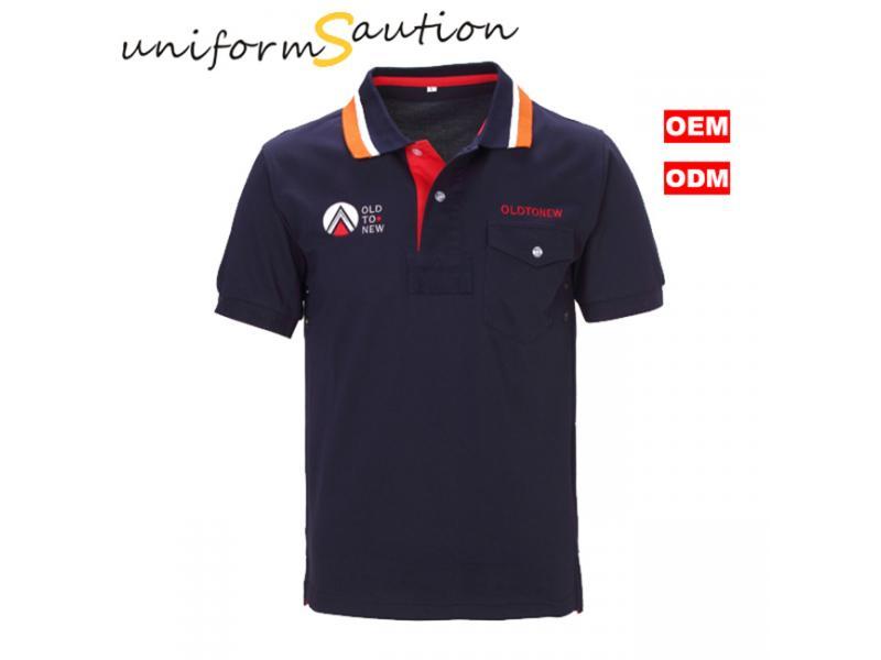 Stylish pocked cotton navy blue polo shirt with custom logo