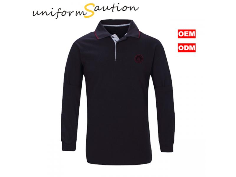 Custom combed cotton 220gsm pique black polo shirt