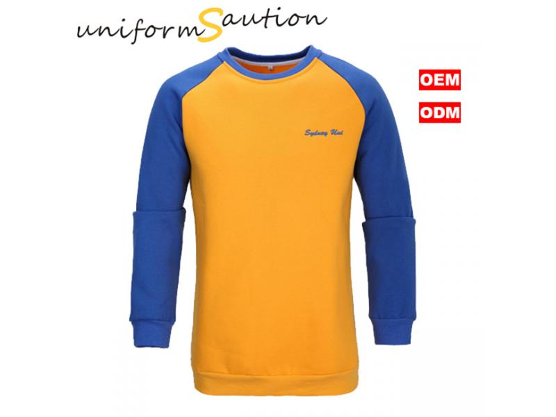 Custom cotton fleece raglan sleeves sweat shirts
