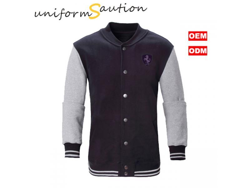 Custom design black and gray sport cotton fleece baseball varsity jacket