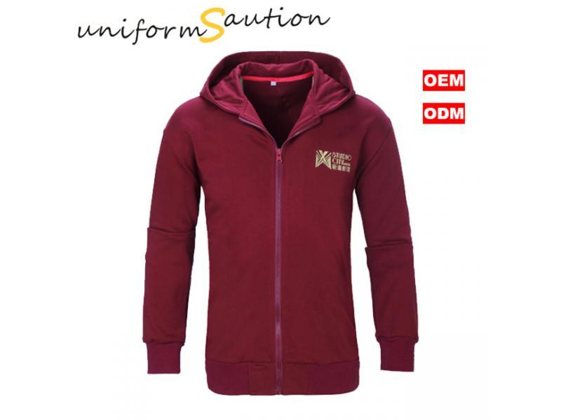 Custom cotton fleece maroon corporate hoodie