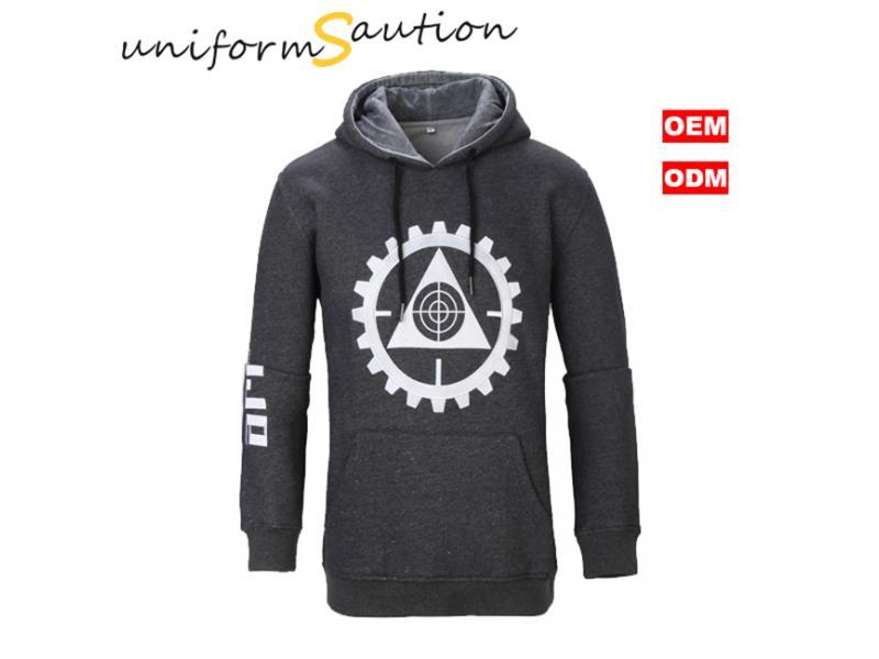 Custom melange gray cotton fleece hooded sweatshirt