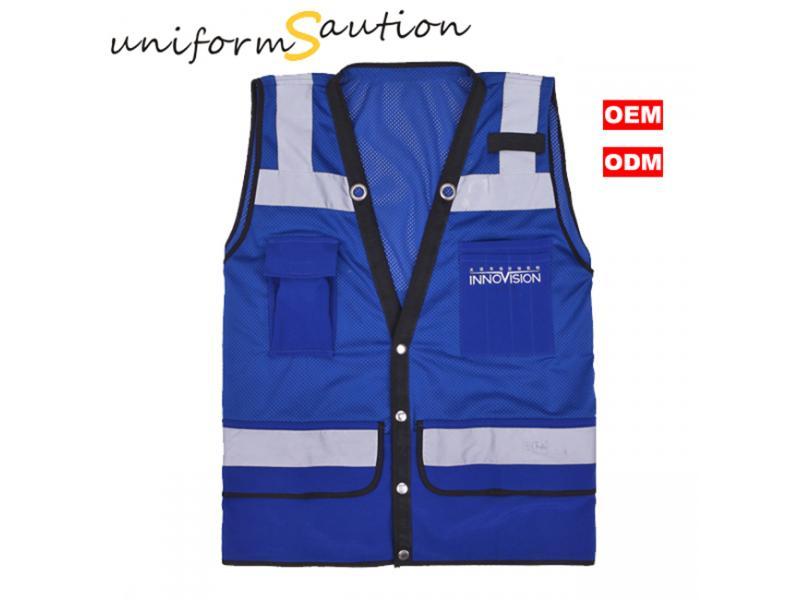 Custom hi-viz safety vest with reflective tape