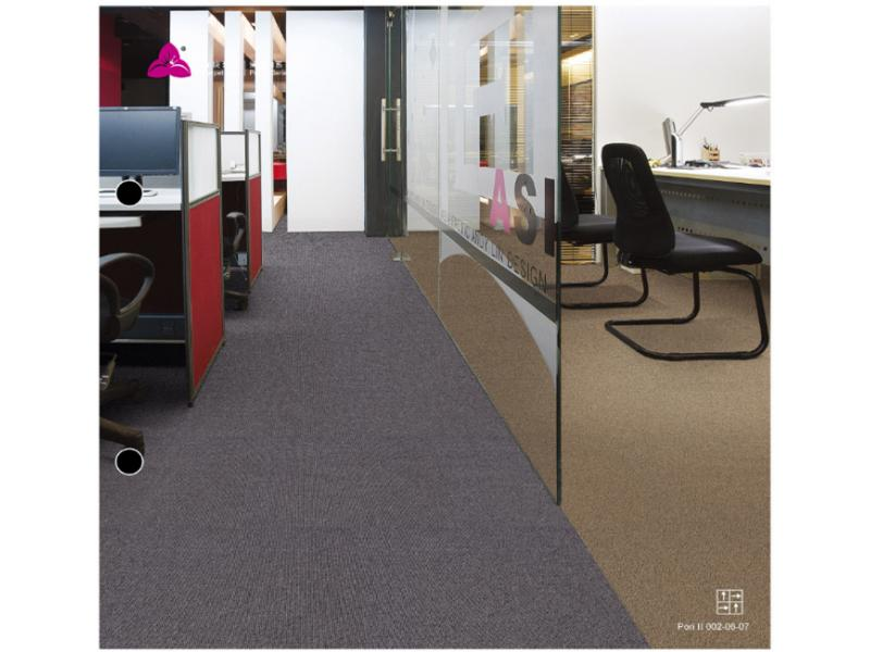 Carpet Tile Pori II Series Nylon6 Pile Height 5mm Pile Weight 690g per sqm Backing PU