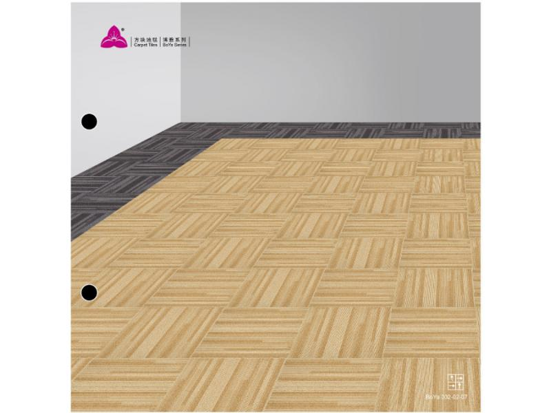 Carpet Tile Boya 002 Series Nylon6,6 Pile Height 5.5-3mm Pile Weight 620g per sqm Backing PVC
