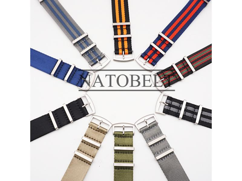 Juelong Minimalist Style Stripe 1.2mm Seatbelt Nylon Watch Strap