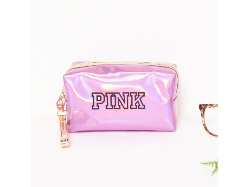 Cosmetic Make Up Pink Custom Women's Waterproof Leather Travel Toiletry Bag