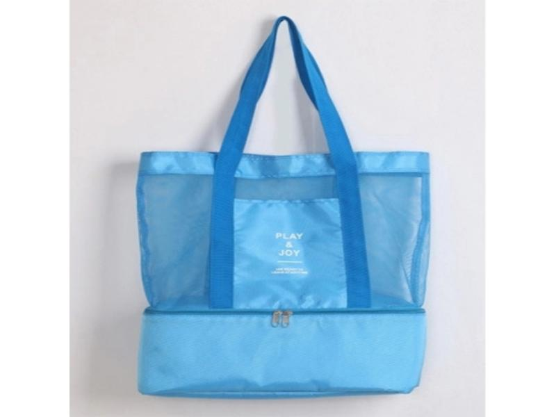 Wholesale bulk insulated nylon mesh beach cooler swimming tote bag