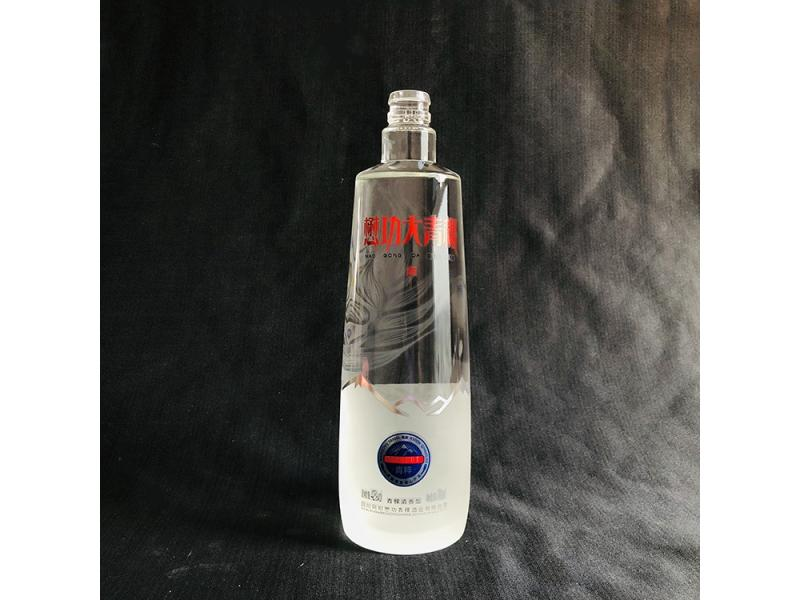 fancy 700ml glass bottle frosted spirit bottle