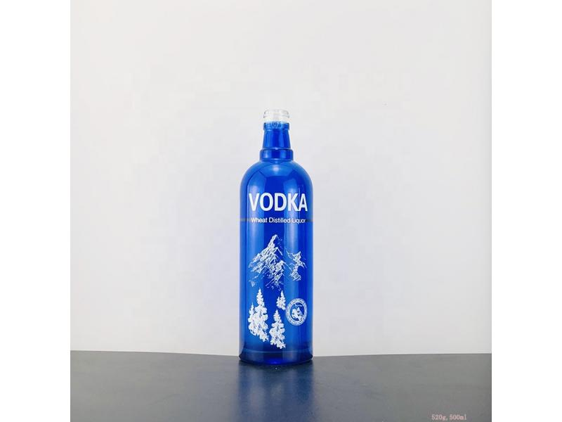 china supplier blue 500ml vodka glass bottle for spirit