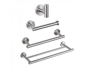 Wall Mounted Double Towel Bar Towel Holder Hook Toilet Paper Holder
