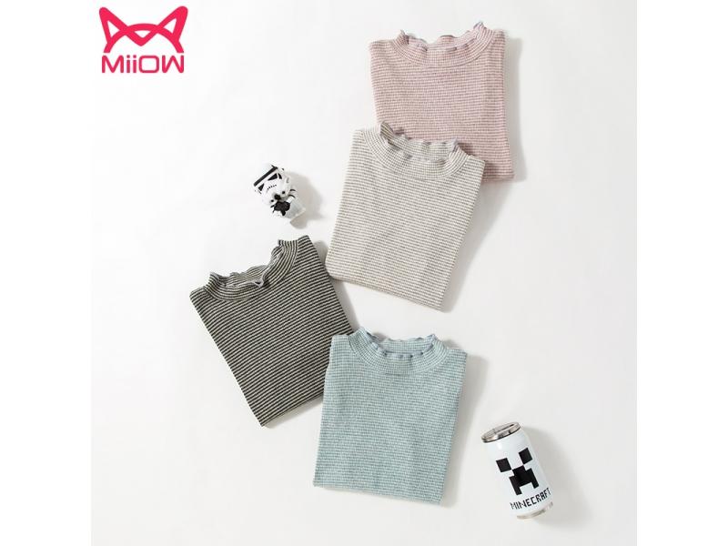 Pure cotton long sleeve tt-shirt simple thin strips girls tops
