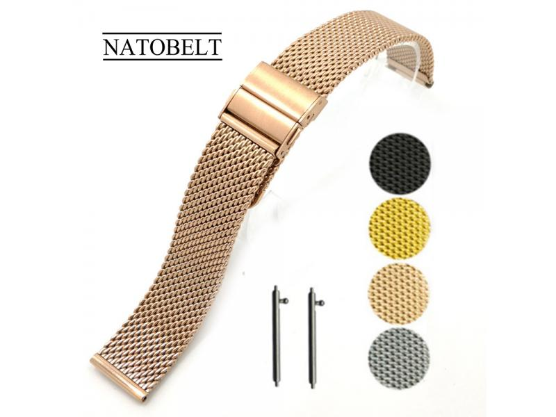 Juelong Minimalist Adjustable Mesh Band Stainless Steel Watch Strap