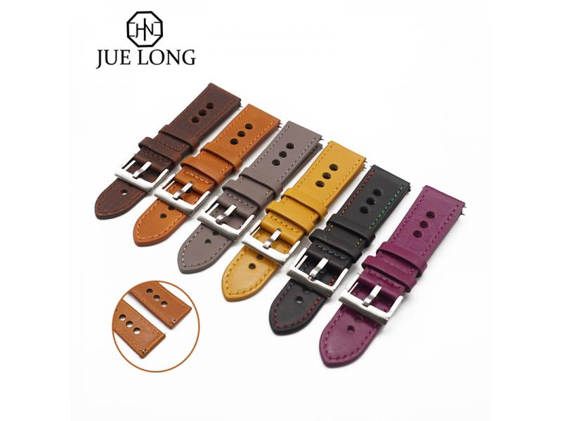 JUELONG Smooth 18mm 20mm 22mm Leather Watch Band Nato Strap