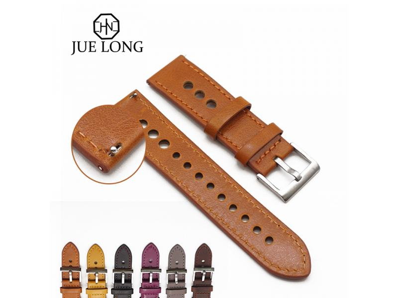 JUELONG Soft Handmade Genuine Leather Watch Strap Nato Band