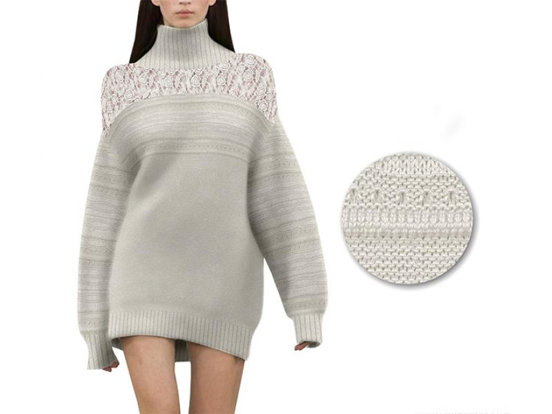 Latest fashion ladies custom loose wool cotton knit pattern embroidered women pullover turtleneck sw