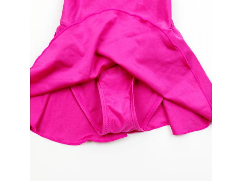 Children's one-piece skirt style short sleeve solid color swimsuit dance competition swimsuit pink