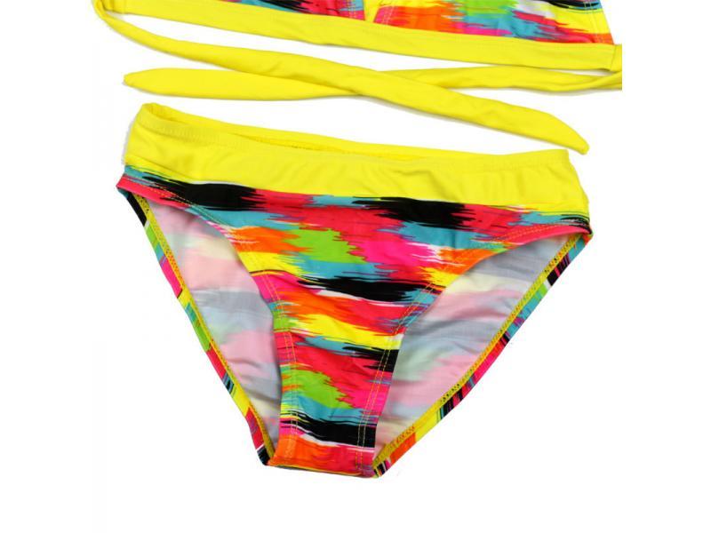 2019 European and American trade girl bikini swimwear tight height elastic color cloth children's s
