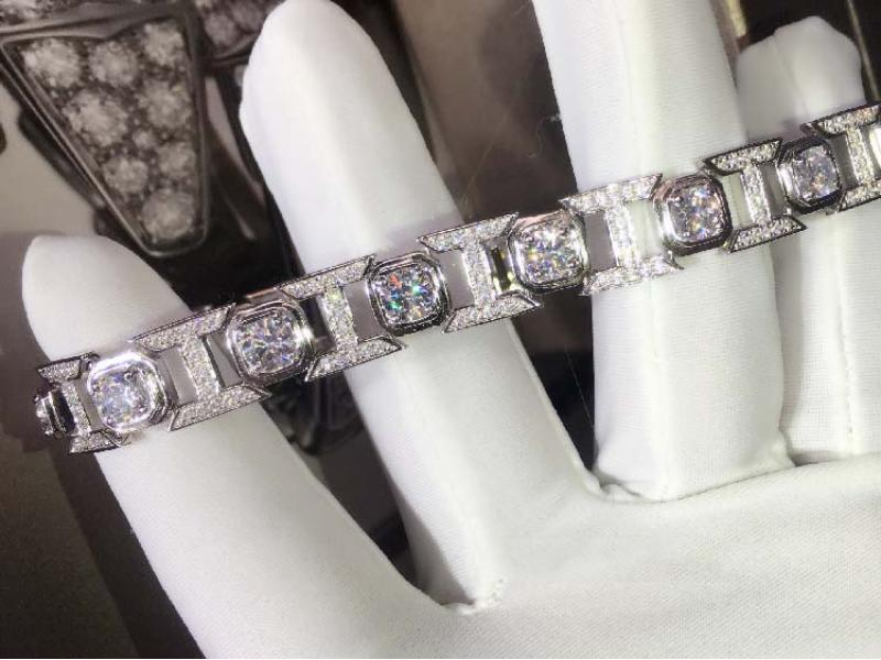 Men's I-shaped Diamond Bracelet 925 Men's Simulation Drill Bracelet Engagement Jewelry