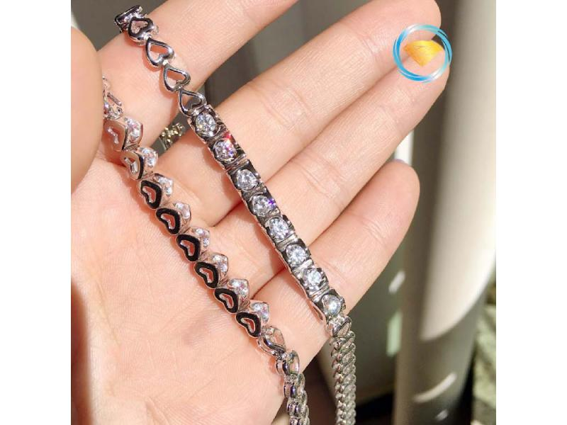 Carbon Drill Simulation Diamond Bracelet Bracelet Sterling Silver Jewelry Platinum Female Bracelet