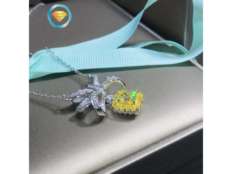 Yellow Diamond Square Diamond Simulation Diamond Pendant Female Sterling Silver Bow Ribbon Necklace