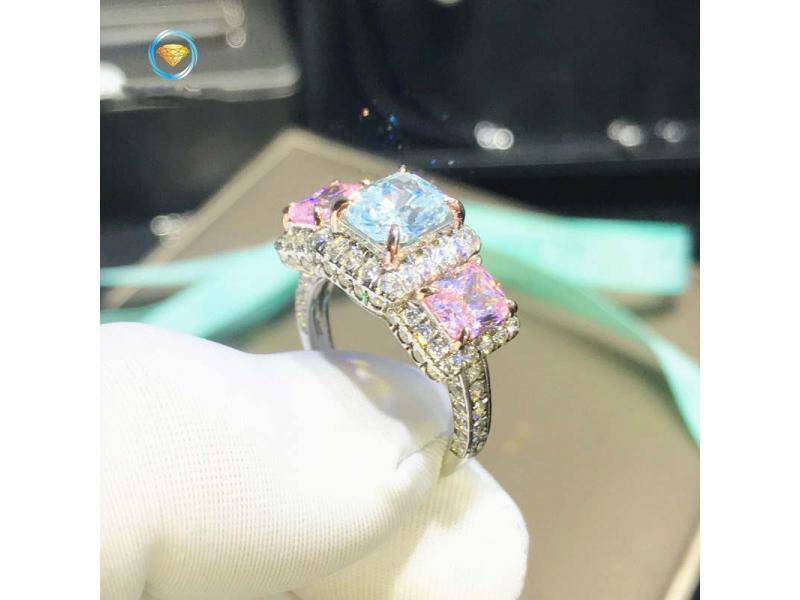 Aquamarine powder diamond simulation diamond ring female sterling silver plated 18K