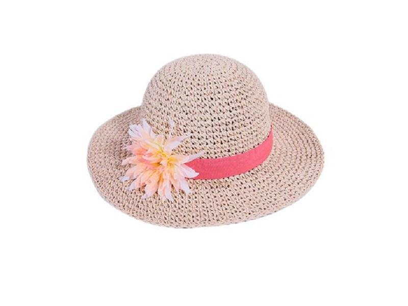 100% hand crochet kids paper straw floppy hat