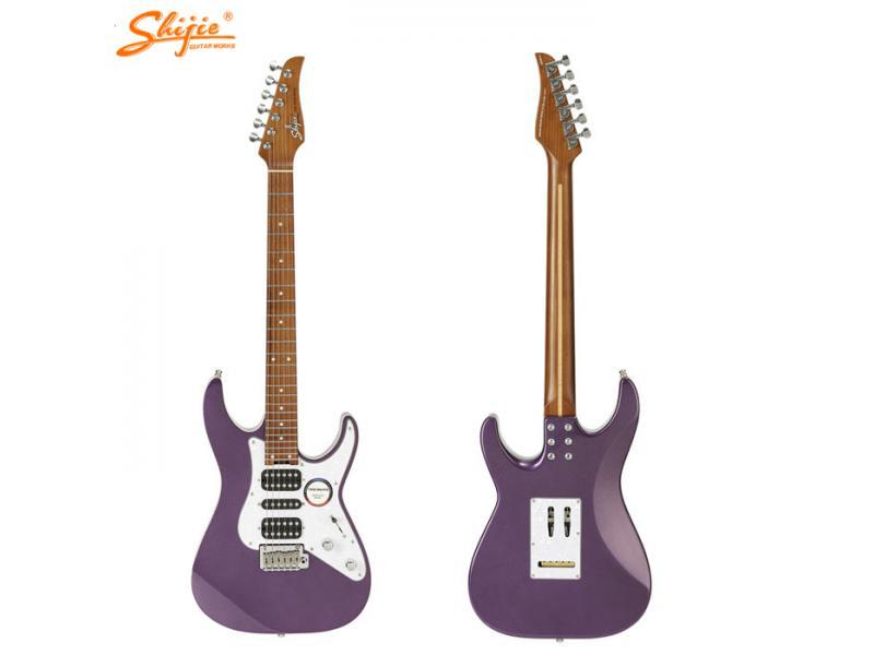 China Shijie brand guitars TM-4DLX-PL model Caramelized roasted maple neck NAMM show HSS pickups ele