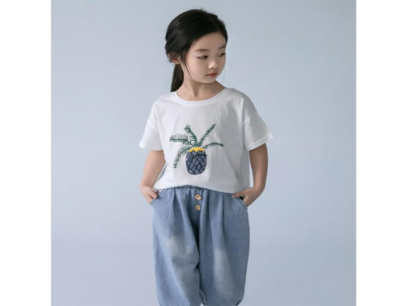 Girls short-sleeved t-shirt 2019 new summer Korean children's cotton foreign wild summer shirts fas