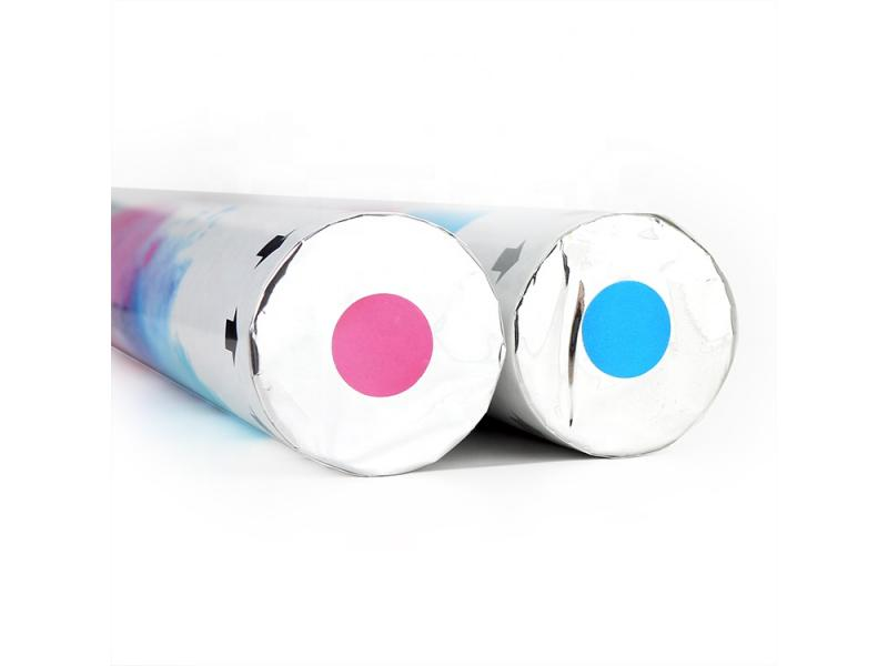Boomwow eco gender reveal party poppers blue pink smoke shooter holi powder cannon