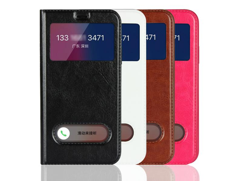 iPhone XS Case Flip Cover Dual Window View with Foldable Kickstand Feature for iPhone 5,6,7,8,X,XR,X