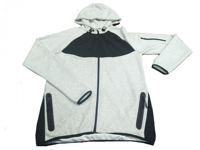 2019 hot sale  Grey melange with hoody zipper sweatshirt