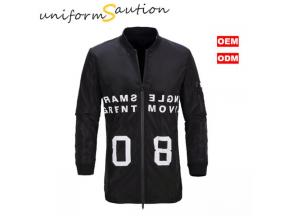 Custom fashion black bomber jacket windbreaker jacket