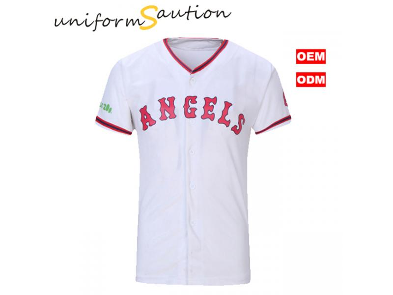 Custom fast dry button up baseball t shirt with DIY printing