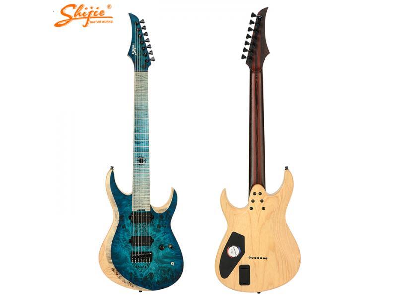 China Shijie guitars BP-7B model swamp ash body 26.5 long scale hipshot hardware 7 strings electric