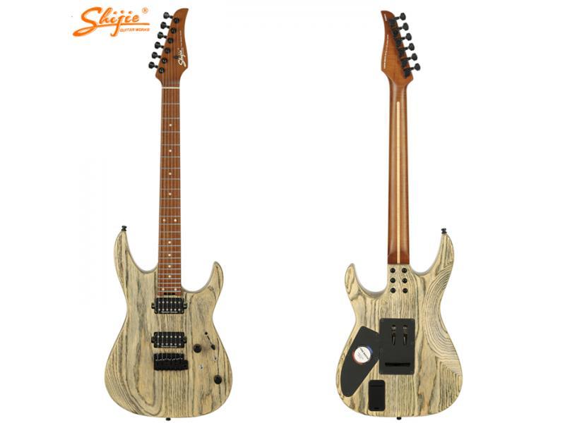 Ready to ship Shijie guitars TM-6DLX-G transparent gray color finish swamp ash body custom build ele