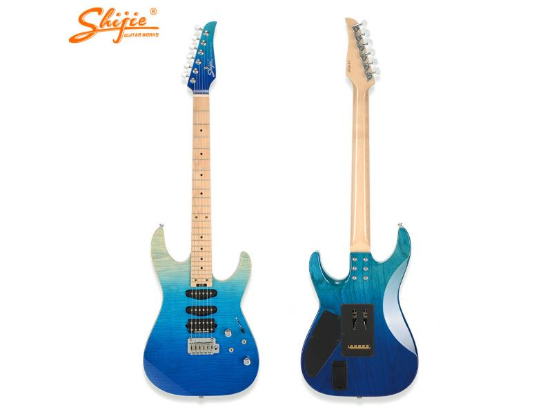 ready to ship electric guitar Shijie guitars TM-Deluxe-F swamp ash body electric guitar for sale
