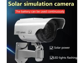 Outdoor solar rechargeable simulation camera fake monitoring with constant indicator light without c