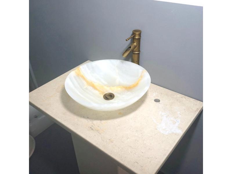 Round marble wash basin Natural jade texture wash basin