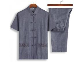 Linen men's mourning Summer middle-aged Chinese clothing short-sleeved cotton and linen