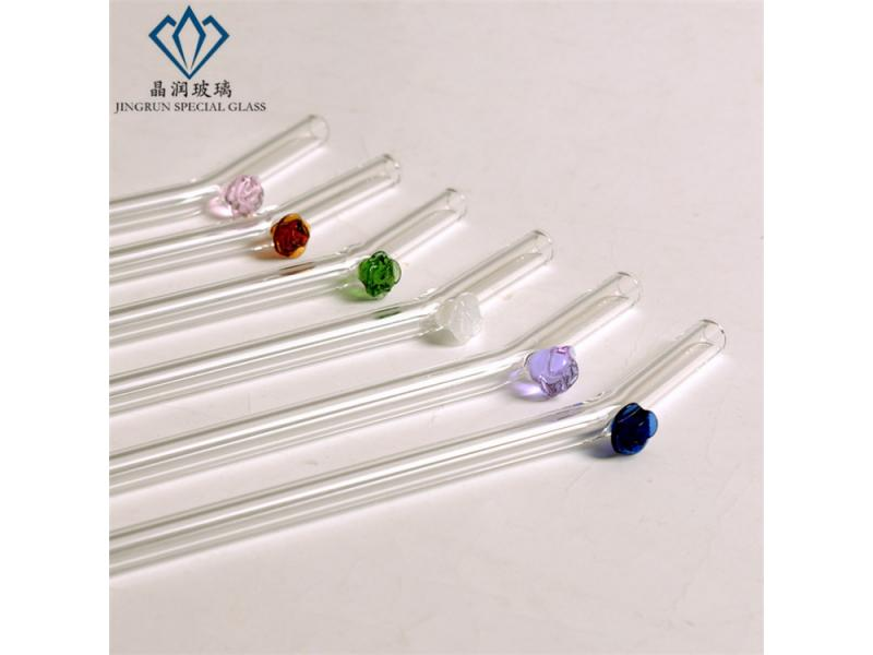 Bent Clear high borosilicate glass drinking straw with colored rose flowers