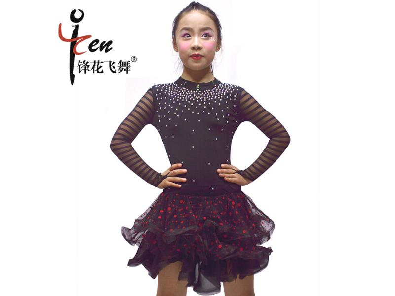 Girls Latin dance clothes Spring and summer new children's lace stage costumes