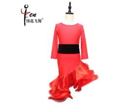 Children's Latin dance clothes red to send tiara costumes