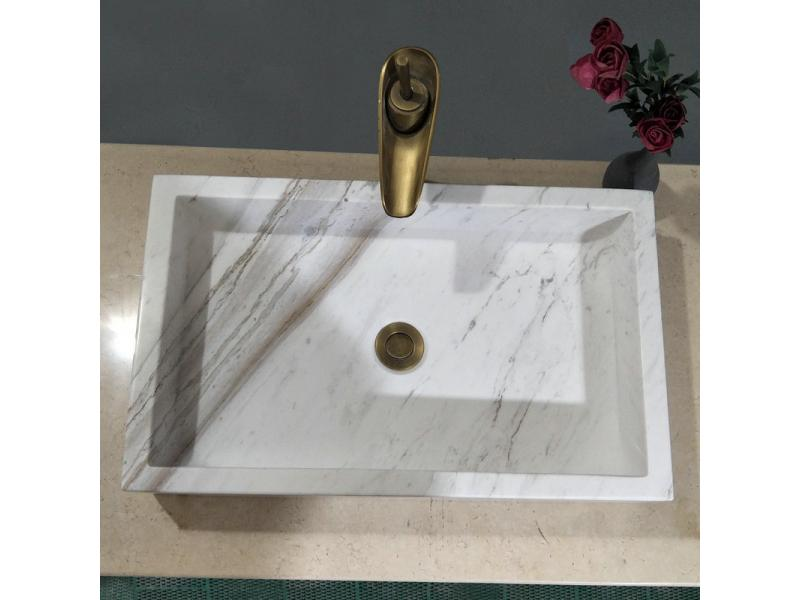 Marble Carrara White Square Wash Basin Natural Stone Bathroom Wash Basin