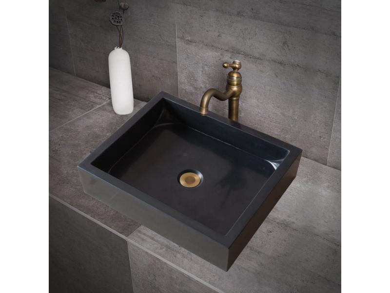 Black and white square marble wash basin bathroom cabinet European style