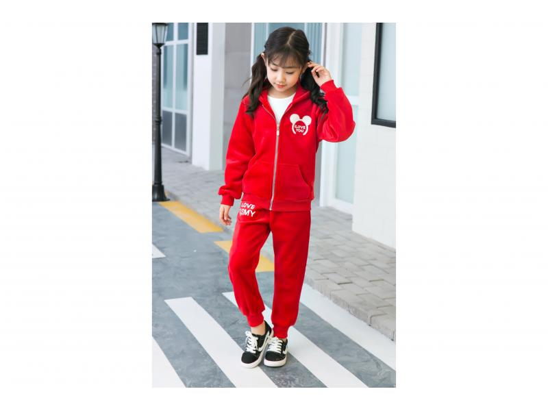 Children's clothing Girl's Tracksuit Sports Stripes Velour Hoodie Pants / Trousers Clothing Suit R