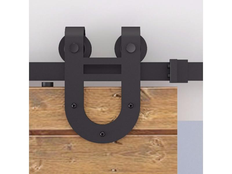 U-shaped barn door hardware