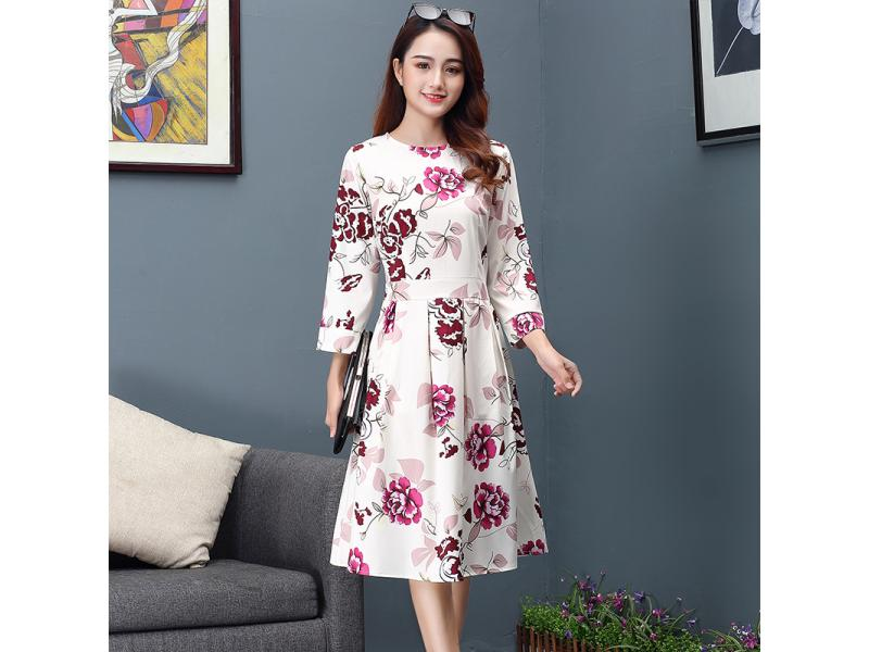 Autumn 2019 New Long Sleeve Mid-long Printed Dresses